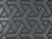 RESTSTÜCK 22 cm gesteppter Stoff grafisches Muster, dunkelblau schwarz