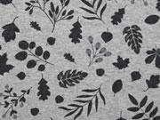 Jersey Blätter, hellgrau melange/schwarz