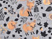 Jersey Glitzer Fuchs & Blätter, grau/kupfer