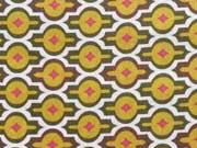 Baumwollstoff Ornamente Sterne, senfgelb khaki