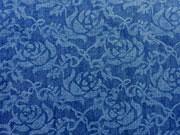 RESTSTÜCK 41 cm Leichter Jeansstoff Rosen, dunkelblau