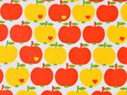 RESTSTÜCK 77 cm beschichtete Baumwolle Äpfel by Graziela, gelb