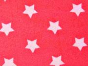 RESTSTÜCK 76 cm weicher Frottee mit Sternen 3,3 cm -weiss/rot