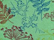 Alpenfleece Sweatstoff bunte Blätter, grasgrün meliert