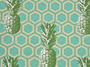 Dekostoff Wabenmuster & Ananas, mint