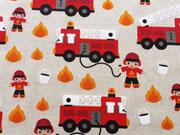 RESTSTÜCK 68 cm Leinen Look Feuerwehr, natur rot