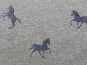 RESTSTÜCK 36 cm Sweat Stoff Alpenfleece Pferd Glitzer, jeansblau grau