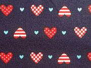 Baumwollstoff Little Sailor Herzen - dunkelblau/rot