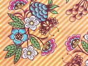 RESTSTÜCK 45 cm Baumwollstoff Kelchblumen, Hamburger Liebe Aloha, orange