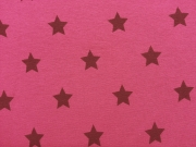 RESTSTÜCK 25 cm Sweat Stoff Alpenfleece Sterne, weinrot auf fuchsia