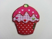 Bügelmotiv Muffin Cupcakes, 7,5 x 6,5 cm, rot