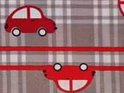 Baumwollstoff Autos Karos,  grau-rot