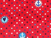 Baumwolle Punkte Anker, weiß blau rot