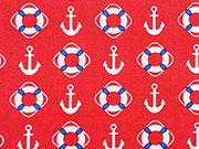 Baumwollstoff Anker Rettungsringe, weiß rot