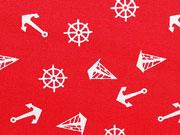 Baumwollstoff Anker Segelboote, weiß auf rot