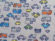 Baumwollstoff Autos & Lastwagen, grau