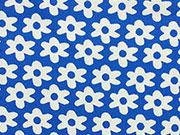 BW Blümchen, königsblau/weiß