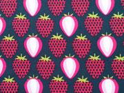 Baumwollstoff Erdbeeren, pink dunkelblau