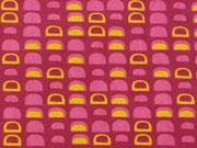 Baumwollstoff Halbkreise-pink auf Beere