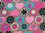 Baumwolle Herzen & Blumen, taupe/pink