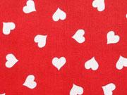 Baumwolle Herzchen, 1,3 cm, weiß auf rot