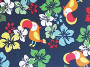 RESTSTÜCK 93 cm Baumwollstoff Kakadoo & Blumen, dunkelblau