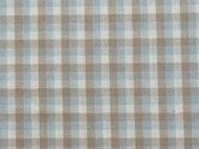 Baumwollpopelin Karo - hellblau, weiß, beige