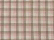 Baumwollpopelin Karo - rosa, weiß, taupe