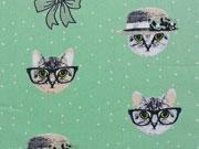 RESTSTÜCK 72 cm Baumwolle Katzen Punkten, weiß hellgrün