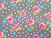 Baumwolle Mini Rosen, grau-pink