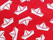 Baumwollstoff Papierschiffchen/Segelboote, weiß auf rot