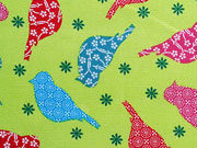 Baumwollstoff Vögel Patchwork Stil - hellgrün