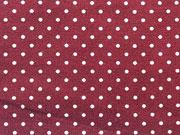 RESTSTÜCK 33 cm Baumwollstoff Punkte 0,2 cm breit - bordeaux/weiß