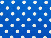 Baumwollstoff Punkte 0,7 cm breit, weiß royalblau