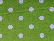 RESTSTÜCK 80 CM Baumwollstoff Popelin Punkte 0,7cm, weiß hellgrün