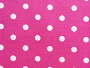 RESTSTÜCK 46 cm Baumwollstoff Punkte 0,7cm, pink-weiß