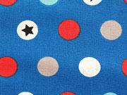 RESTSTÜCK 60 cm Baumwollstoff Punkte & Sterne, orange weiss blau