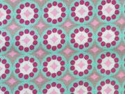 RESTSTÜCK 68 cm Baumwolle Rädchen & Rauten, grau rosa