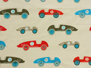 Baumwollstoff Rennautos Retro Autos, beige