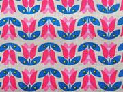 Popelin Retro Tulpen-pink auf graubeige