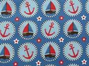 RESTSTÜCK 65 cm Baumwollstoff Seaside Fun Hilco/Buttons mit Booten, blau