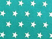 RESTSTÜCK 68 cm Baumwollstoff Sterne 1 cm, petrol/weiß