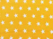 Popelin Sterne 1 cm weiss auf gelb