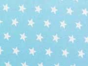 Popelin Sterne 1 cm weiss auf hellblau
