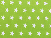 RESTSTÜCK 58 cm Popelin Sterne 1 cm weiss auf hellgrün