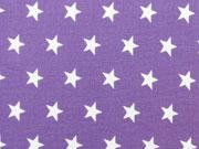 Popelin Sterne 1 cm weiss auf lila