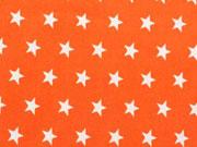 Popelin Sterne 1 cm weiss auf orange