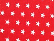 Popelin Sterne 1 cm weiss auf rot