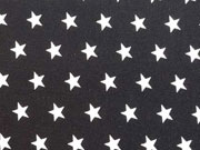 Popelin Sterne 1 cm weiss auf schwarz