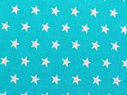 RESTSTÜCK 34 CM Baumwollstoff Sterne 1 cm weiss auf türkis